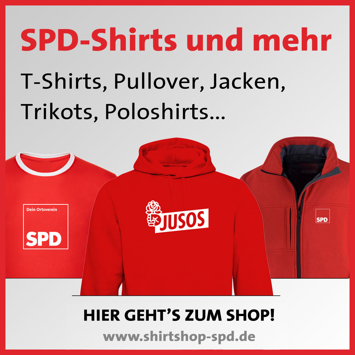 SPD-Shirts, Hoodies, Jacken; Poloshirts im SPD-Shirtshop